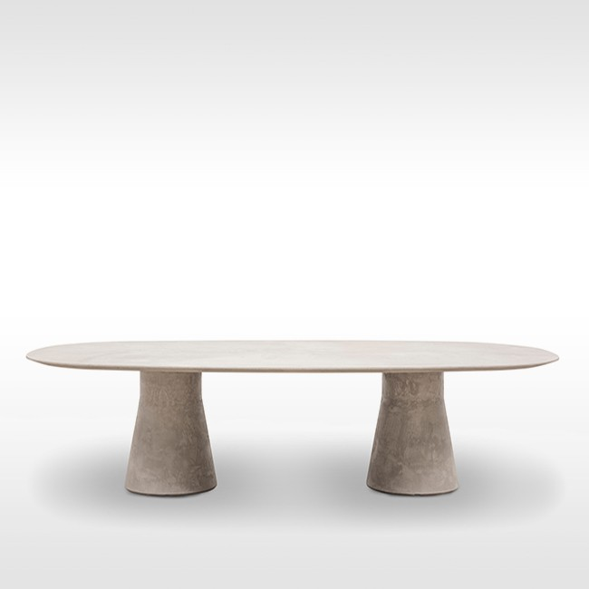 Andreu World tafel Reverse Conference Ellipse Cement door Piergiorgio Cazzaniga