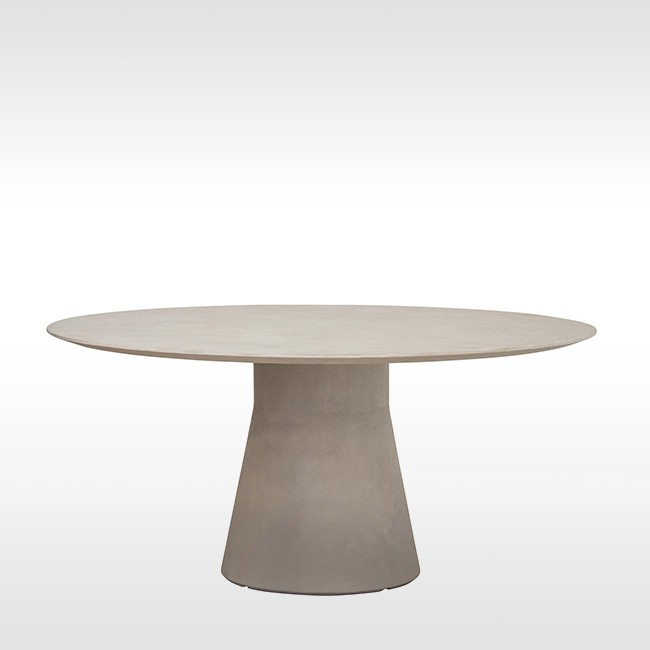 Andreu World tafel Reverse Conference Round Cement door Piergiorgio Cazzaniga