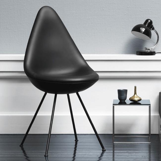 Fritz Hansen Design Stoelen.Fritz Hansen Stoel Drop Model 3110 Leder Door Arne Jacobsen