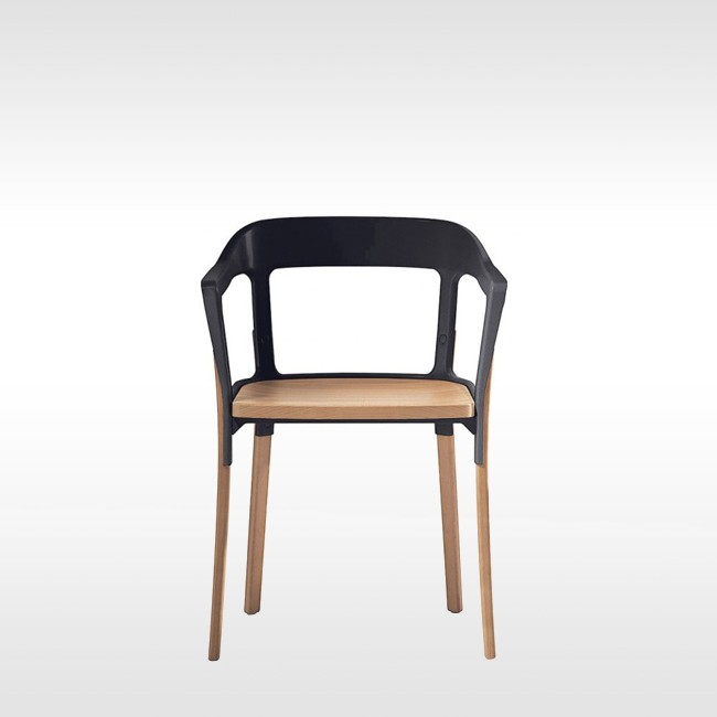 Magis stoel steelwood chair door ronan erwan bouroullec for Magis steelwood