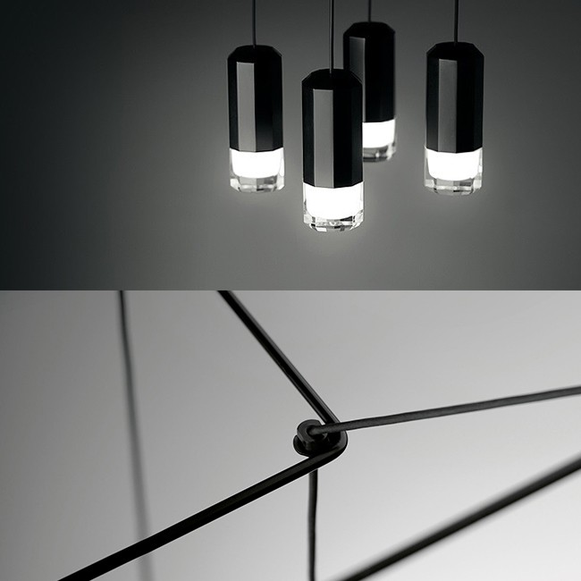 Vibia hanglamp Wireflow Suspension 4 LED met diffuser door Arik Levy