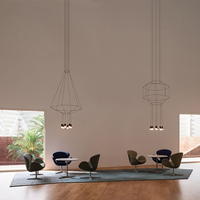 Vibia hanglamp Wireflow Suspension 6 LED met diffuser door Arik Levy