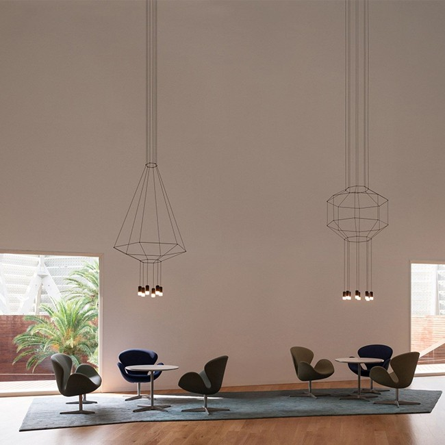 Vibia hanglamp Wireflow Suspension 8 LED met diffuser door Arik Levy