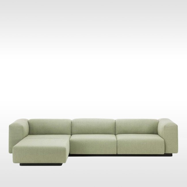 Vitra bank Soft Modular Sofa 3-zits met Chaise Longue door Jasper Morrison