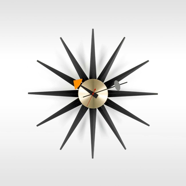 Vitra klok Sunburst Clock messing door George nelson