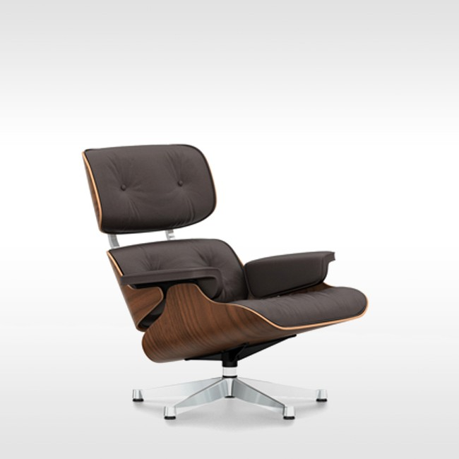 Vitra loungestoel Eames Lounge Chair zwart gepigmenteerd noten door Charles & Ray Eames