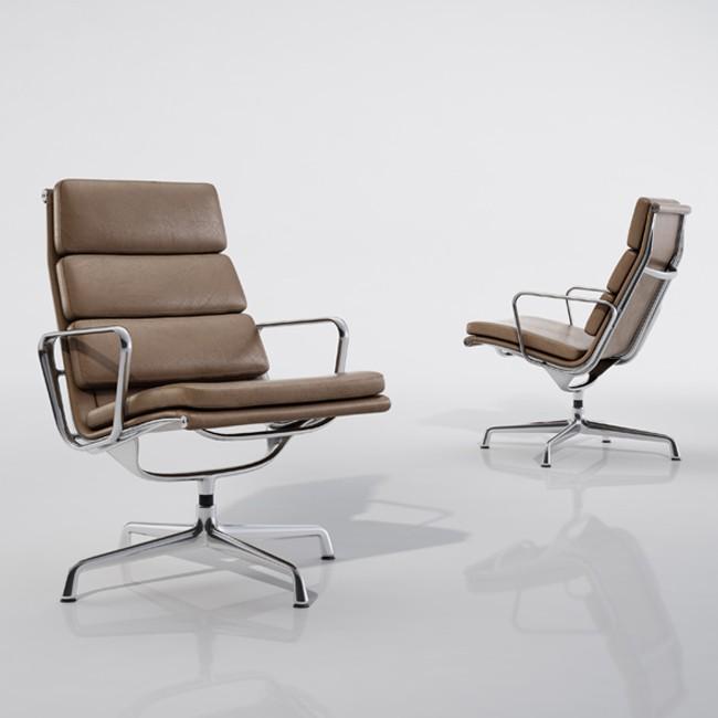 vitra loungestoel soft pad chair ea 215 ea 216 leder l20 door charles ray eames. Black Bedroom Furniture Sets. Home Design Ideas