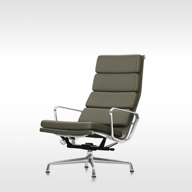 Vitra loungestoel Soft Pad Chair EA 222 Premium Leder door Charles & Ray Eames