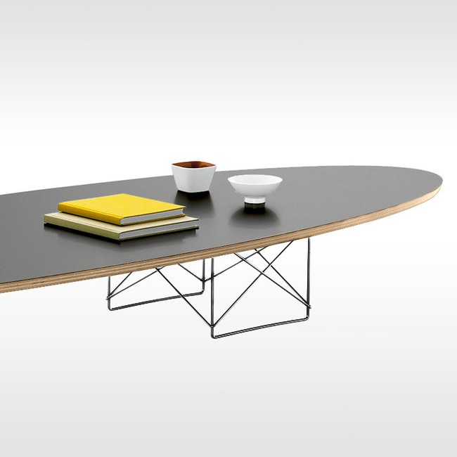 Vitra salontafel Elliptical Table ETR zwart gepoedercoat onderstel door Charles & Ray Eames