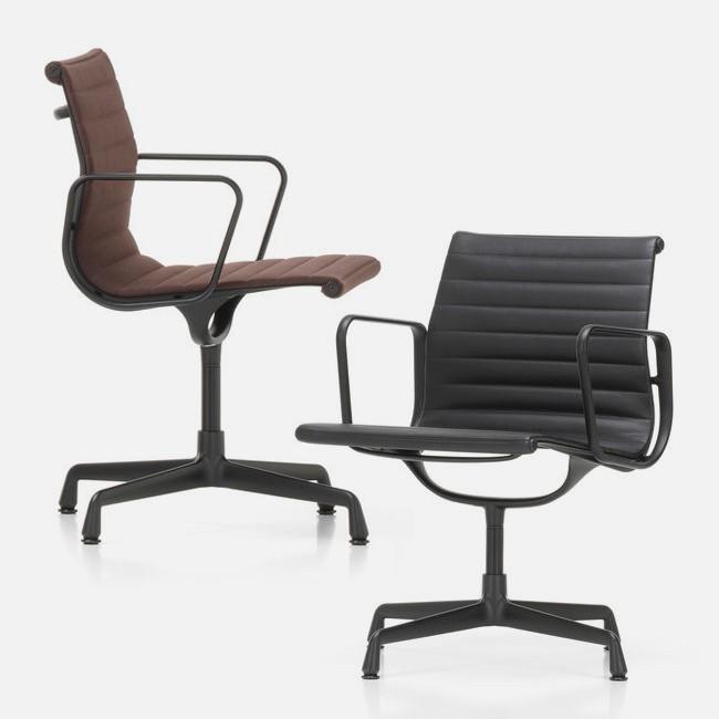 Eames Bureaustoel Vitra.Vitra Stoel Aluminium Chair Ea 108 Stof Zwart Frame Door Charles