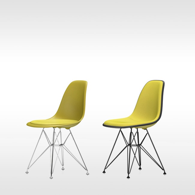 Vitra stoel Eames Plastic Chair DSR Mosterd bekleed door Charles & Ray Eames