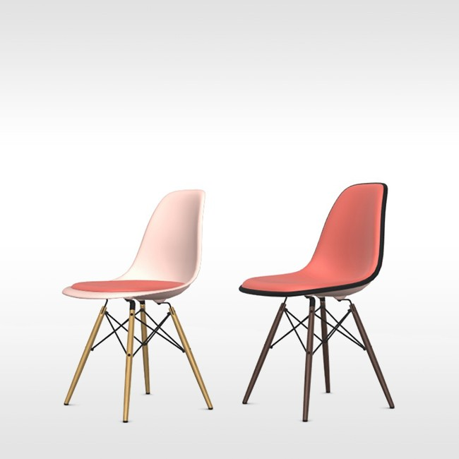 Vitra stoel Eames Plastic Chair DSW Pale Rose bekleed door Charles & Ray Eames