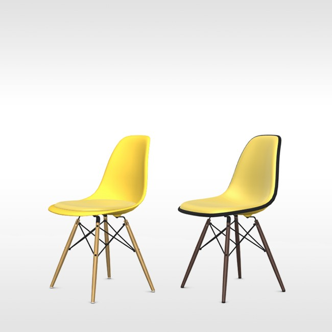 Vitra stoel Eames Plastic Chair DSW Sunlight bekleed door Charles & Ray Eames