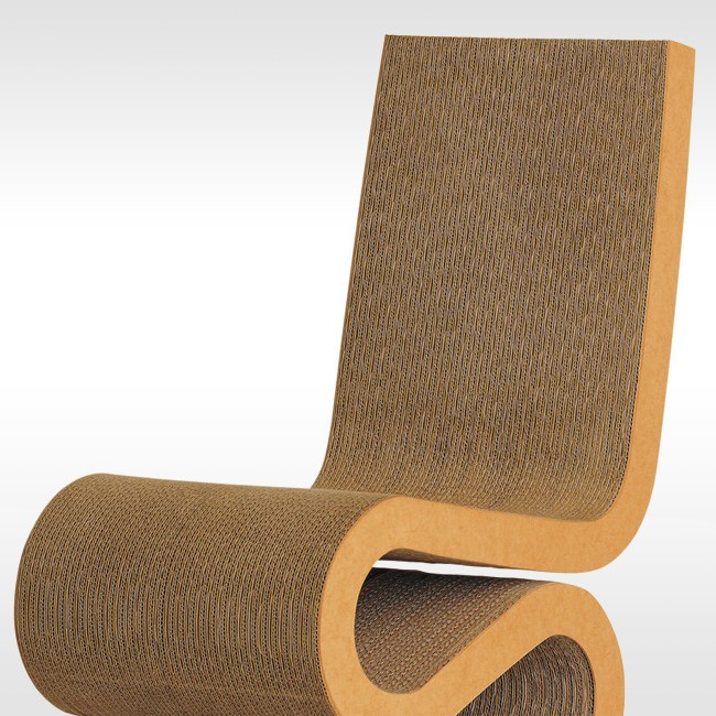 Vitra stoel Wiggle Side Chair door Frank Gehry