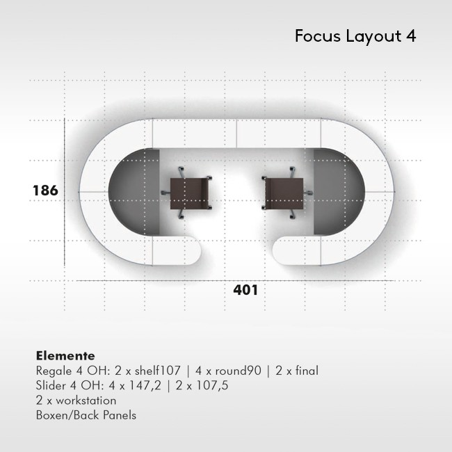 Werner Works werkstation Basic Flow FOCUS Layout 4 door Büro + Staubach